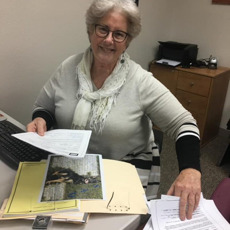 Jan working in the outreach office